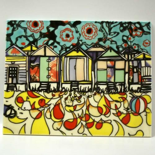 三彩瓷板画抽象正面