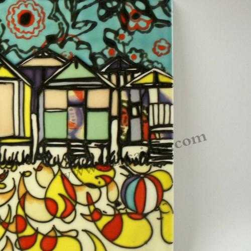 三彩瓷板画抽象细节