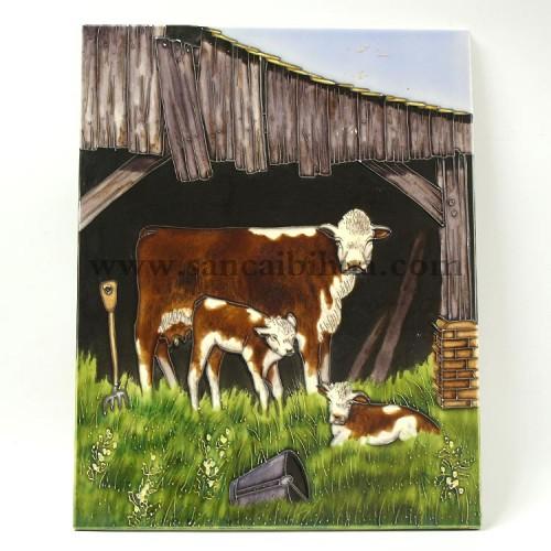 动物三彩瓷板画