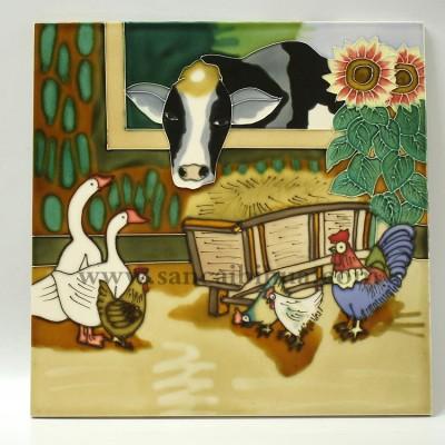 动物三彩陶瓷装饰画