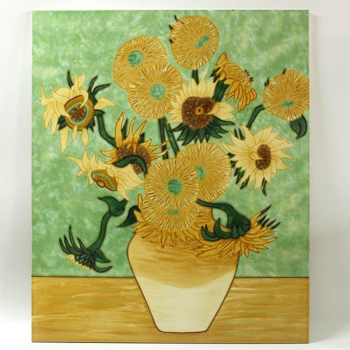 植物花卉三彩瓷板画