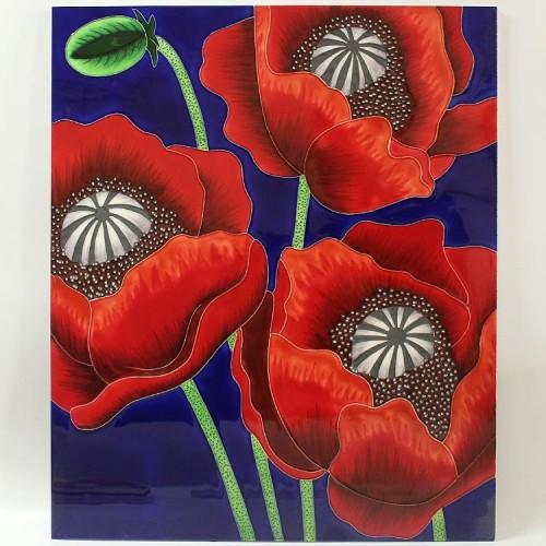 三彩植物花卉瓷板画