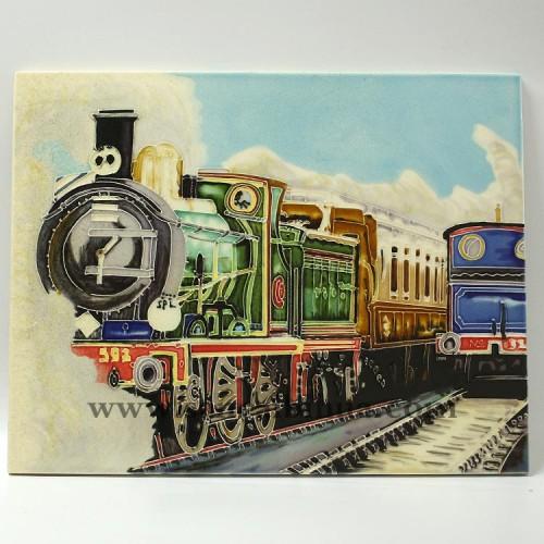 机车三彩壁画
