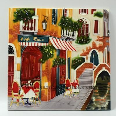 欧式街景三彩壁画