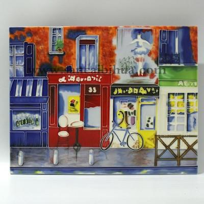 欧式街景三彩壁画摆件