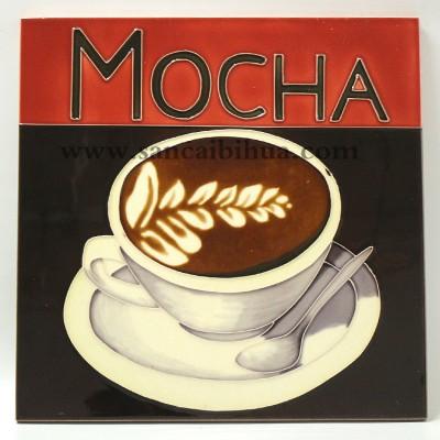 咖啡杯瓷板画摆件