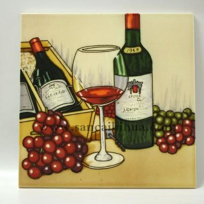 欧式红酒酒杯葡萄三彩壁画