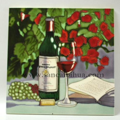 酒杯瓷板画