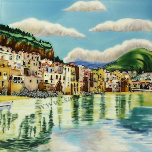 三彩瓷板画风景系列细节