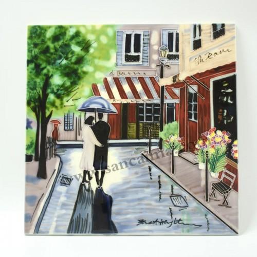 三彩瓷板画街景系列正面