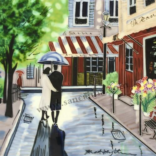 三彩瓷板画街景系列细节