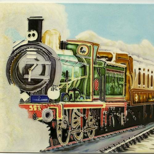 三彩瓷板画机车系列细节