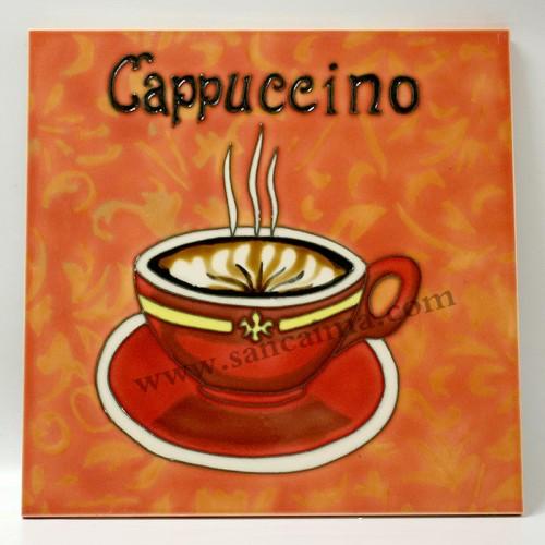 三彩瓷板画咖啡杯系列正面