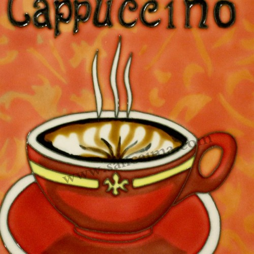 三彩瓷板画咖啡杯系列细节
