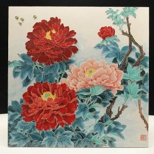牡丹瓷板画