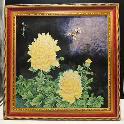 牡丹三彩瓷板画
