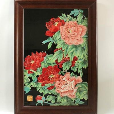 三彩牡丹瓷版画