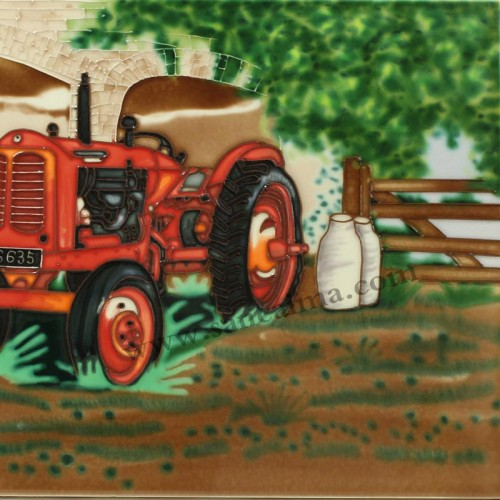 三彩瓷板画农场机械系列细节