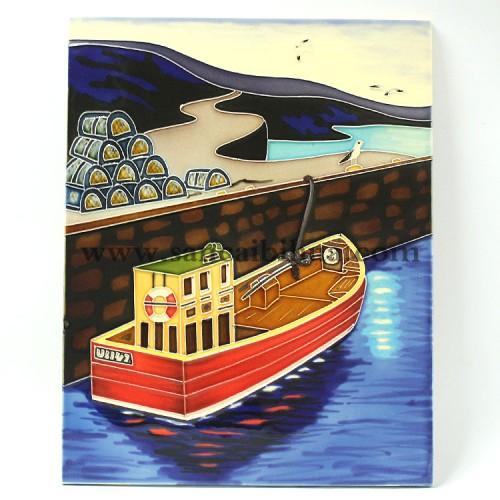 船舶三彩瓷板画