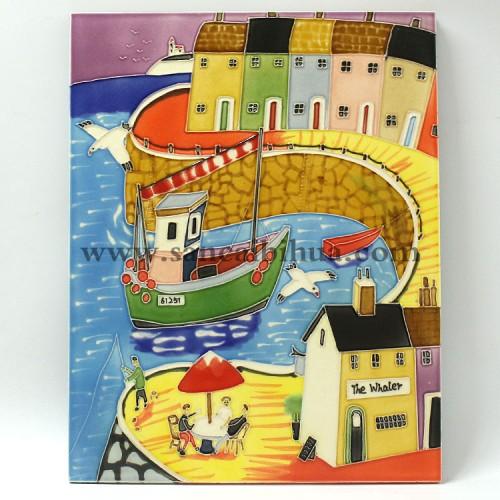 海港三彩瓷板画