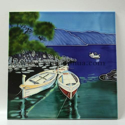 西洋风景三彩瓷板画