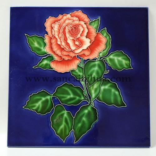 玫瑰三彩瓷板画