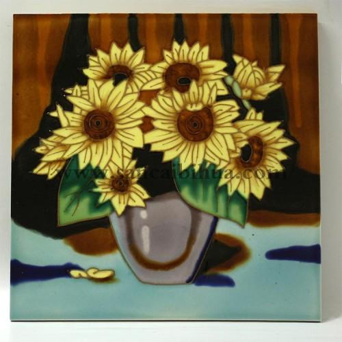 向日葵三彩瓷板画