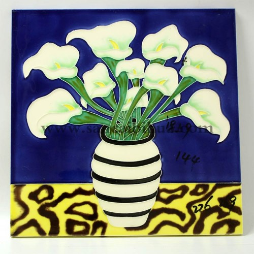 花卉三彩瓷板画