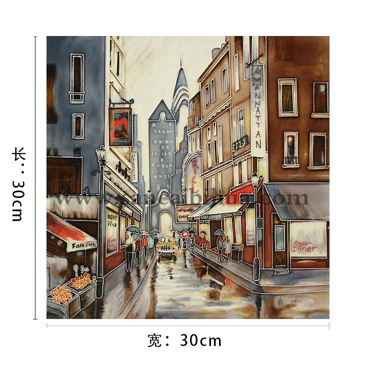 欧式街景瓷板画摆件