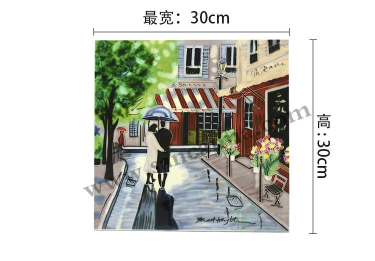 三彩瓷板画街景系列