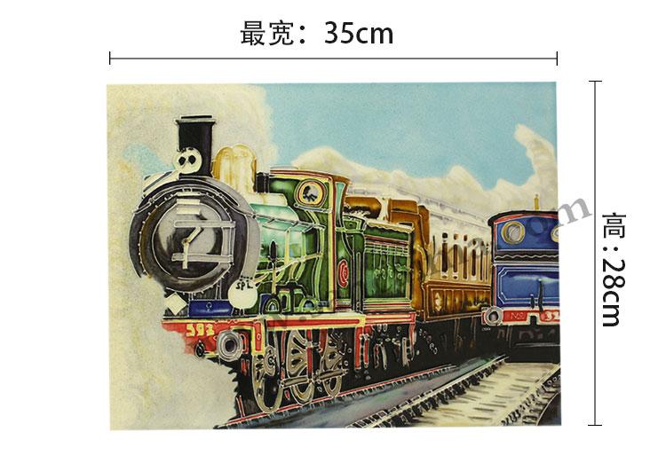 三彩瓷板画机车系列