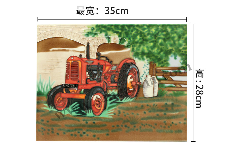 三彩瓷板画农场机械系列