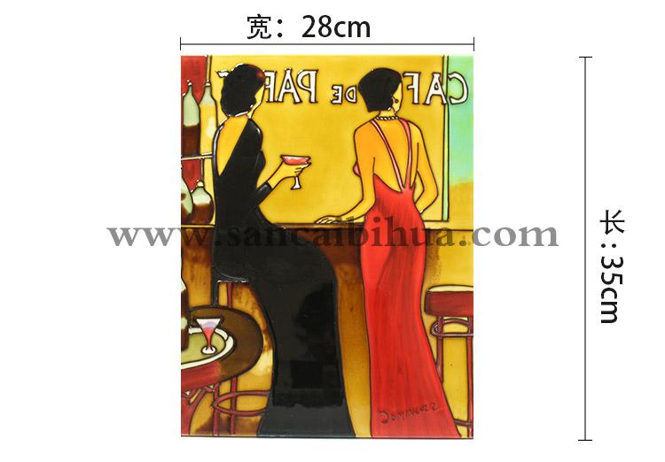 欧美人物壁画瓷板画
