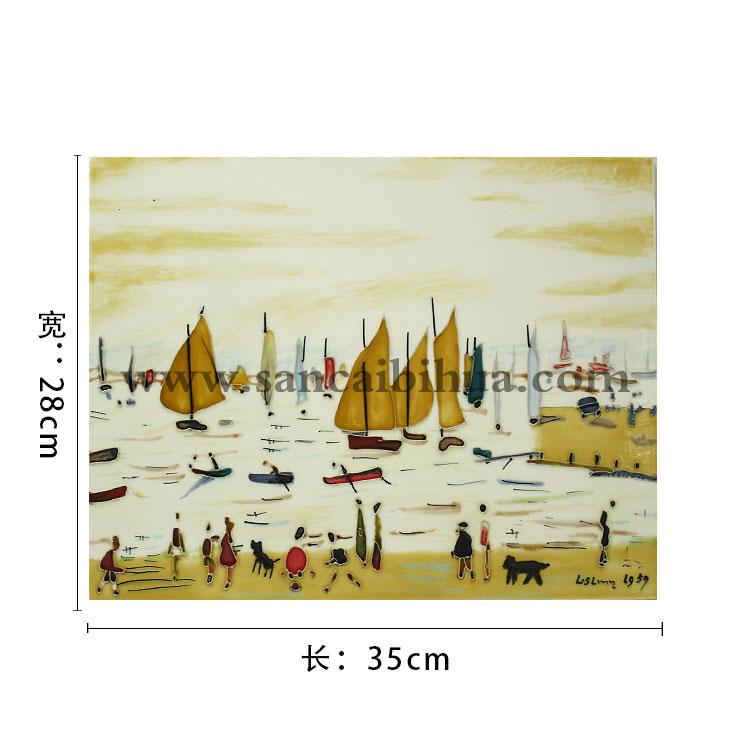 山水风景三彩瓷板画