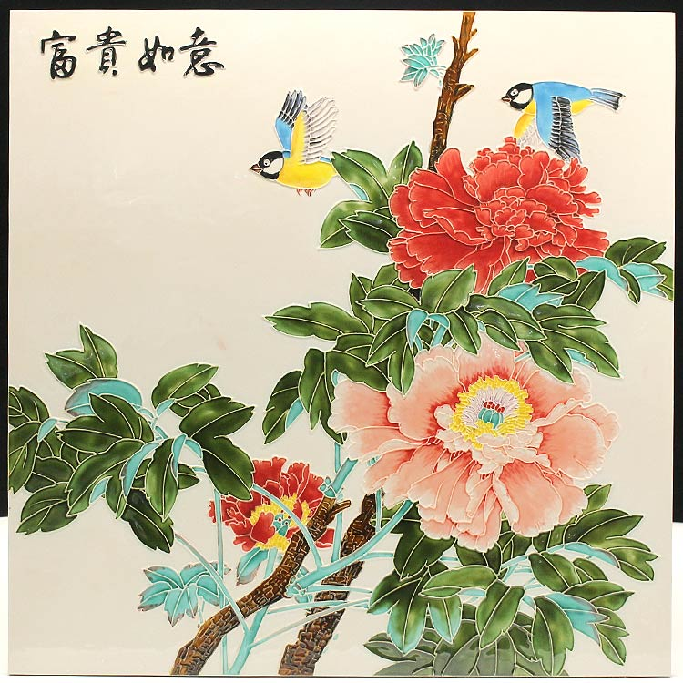 国色天香洛阳牡丹瓷板画!